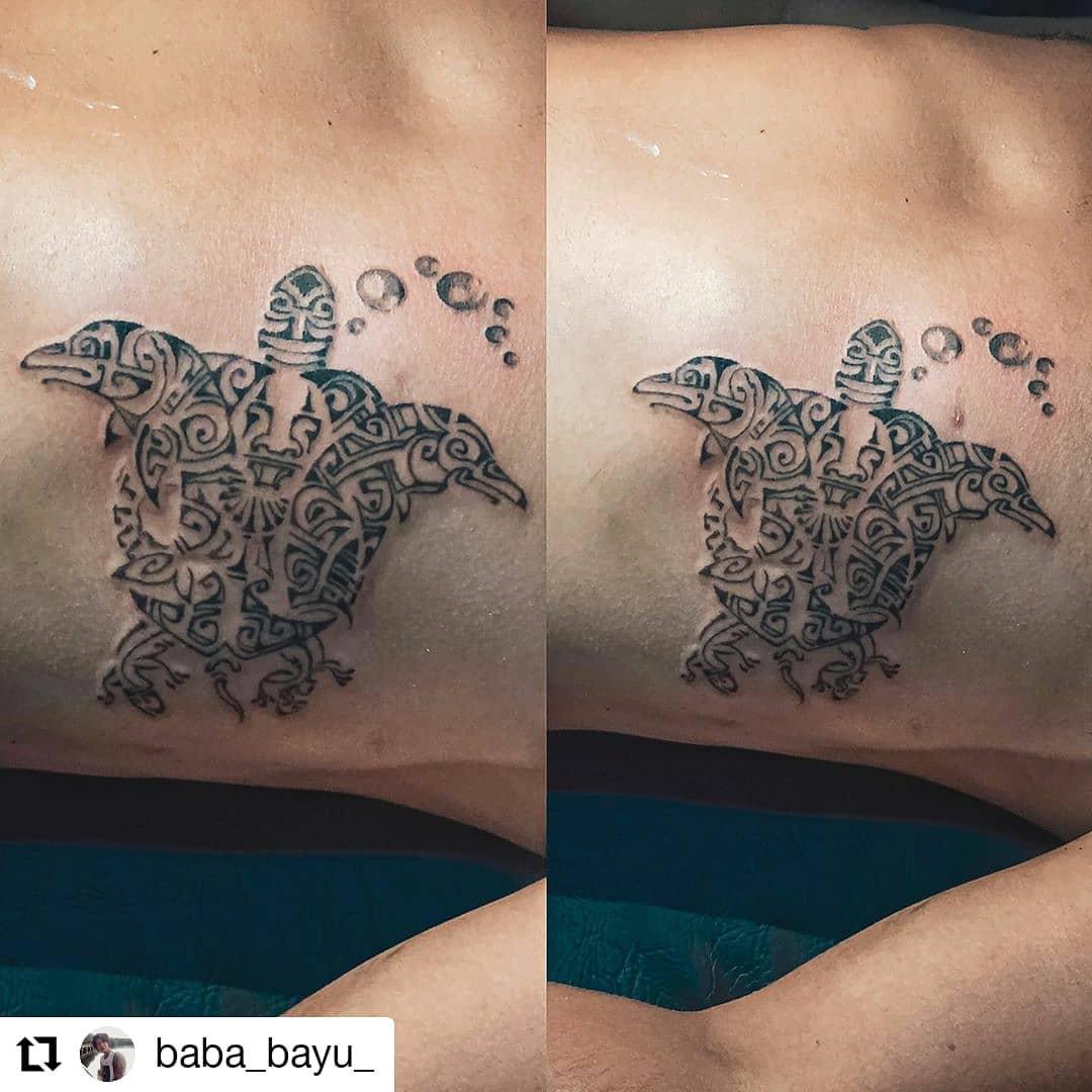 Sea Turtle Tattoo design with bubbles