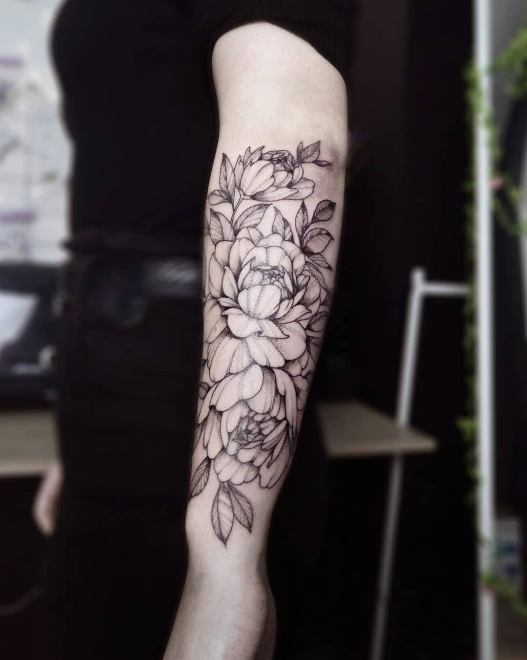 Image of forearm Peony Tattoo design