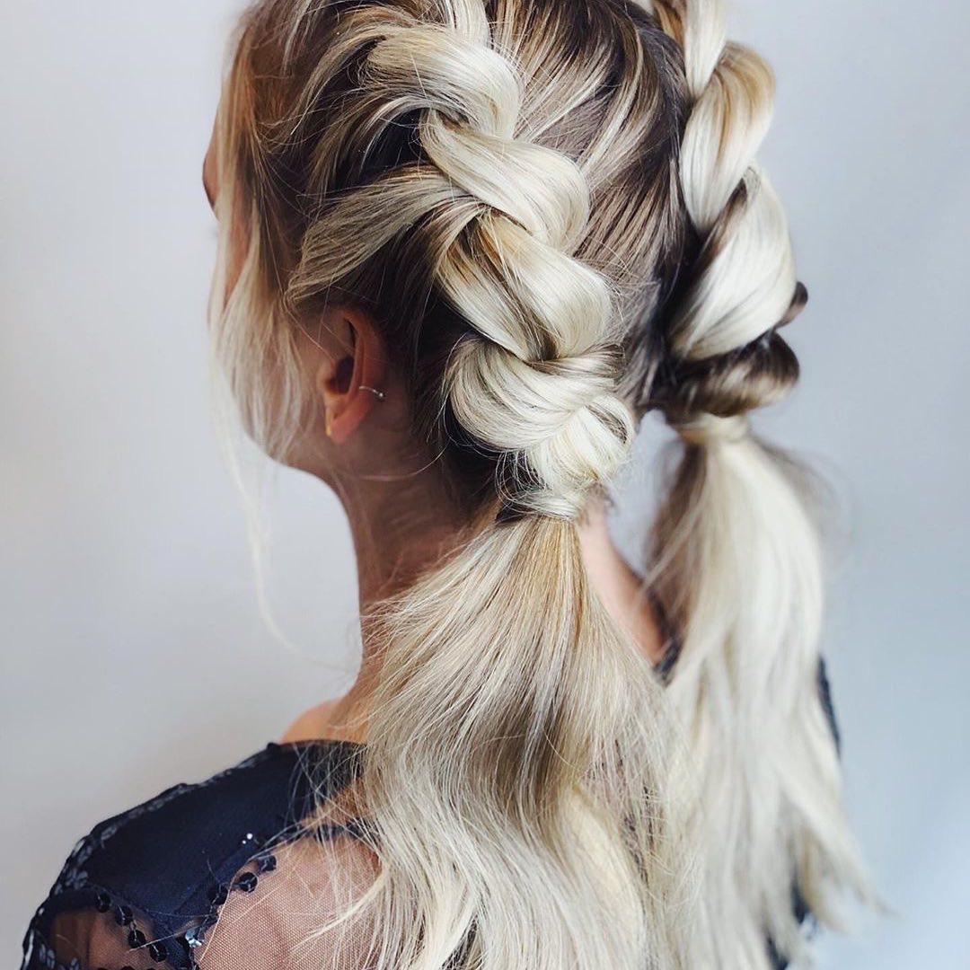 Two blond dutch braids