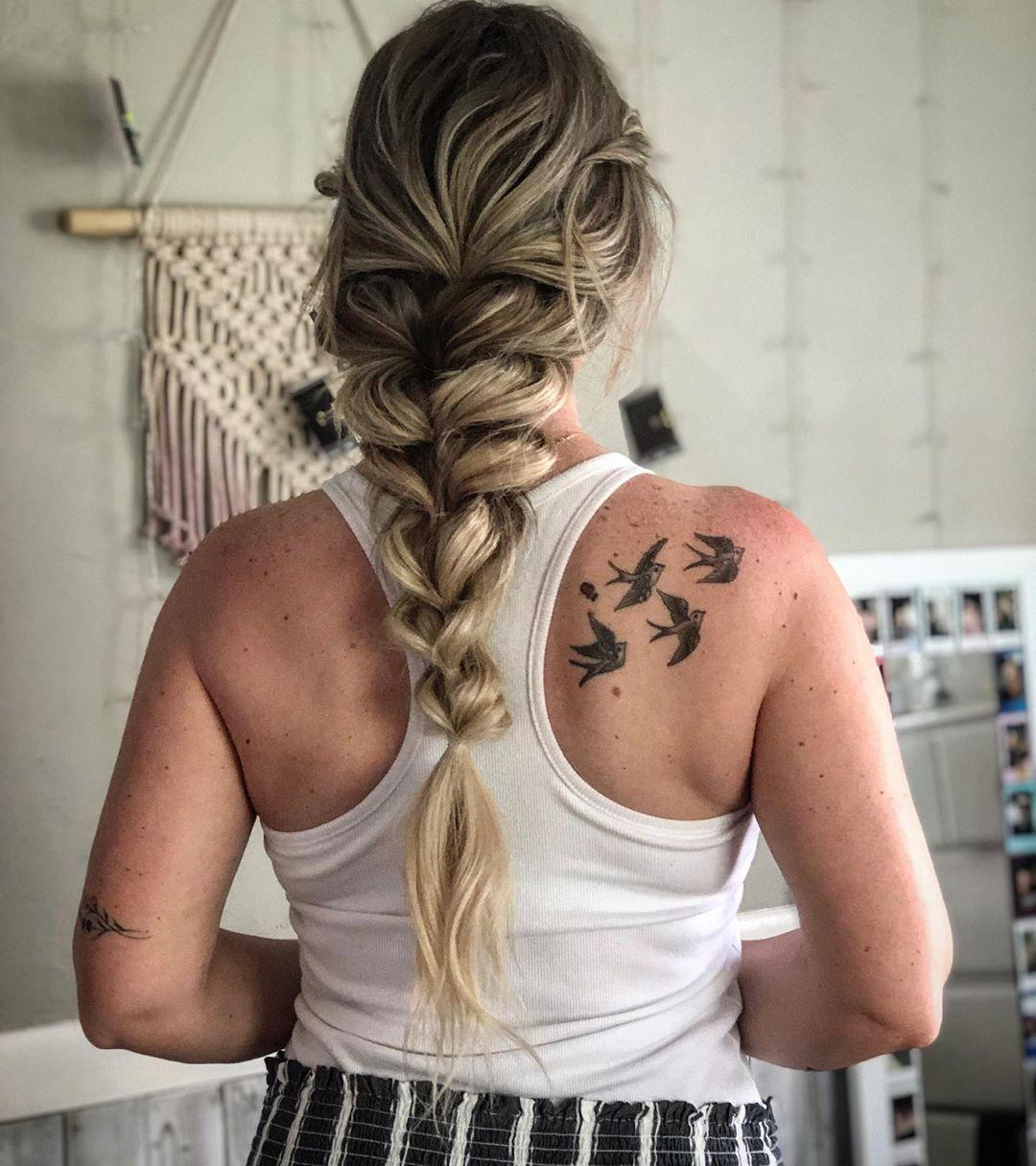 Chunky french braid with a bohemian braid flair