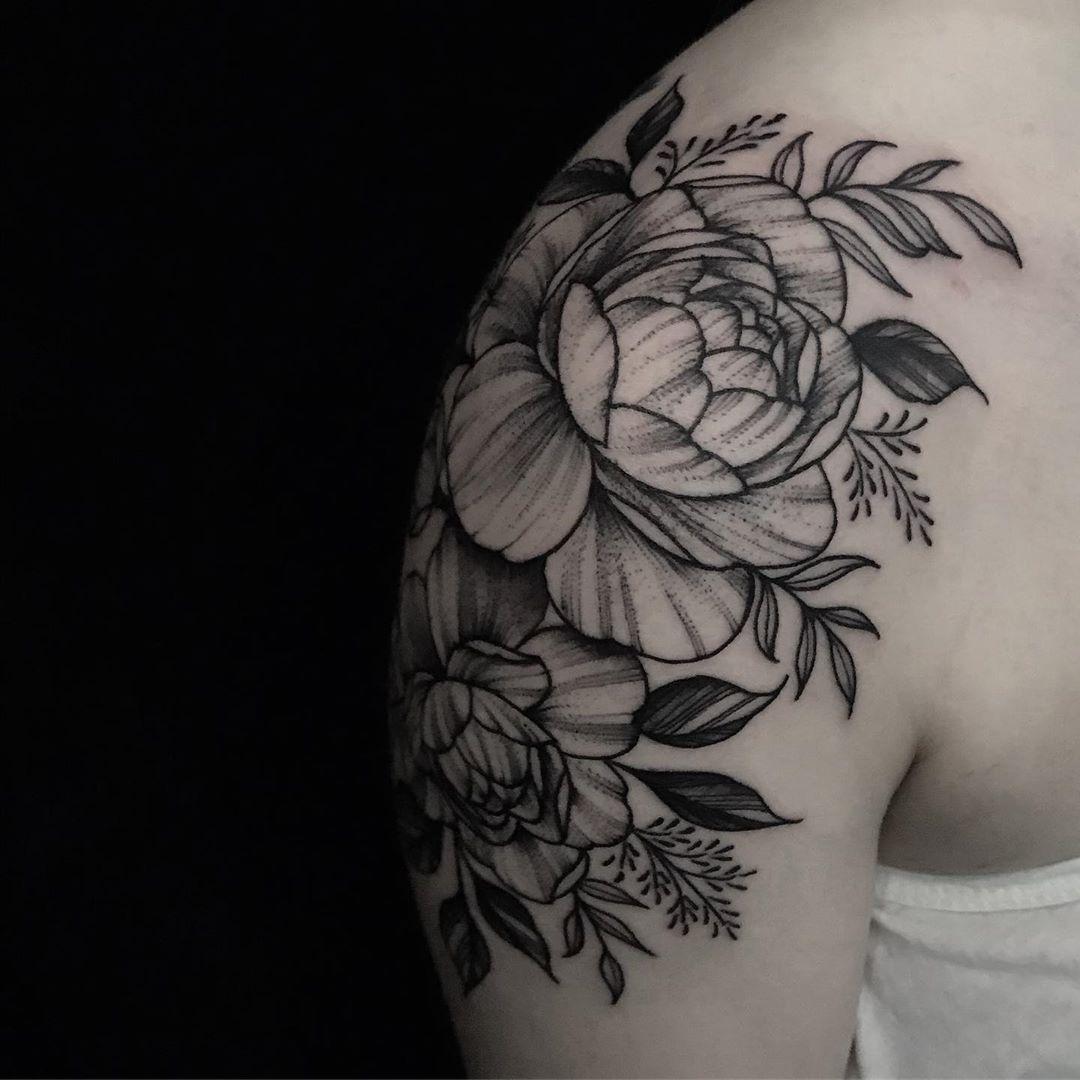 Graceful shoulder Peony Tattoo design