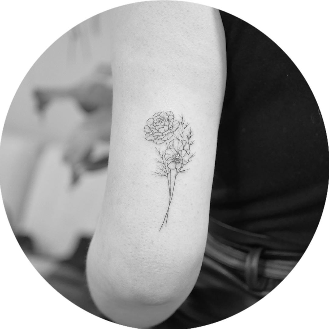 Image of Simple Peony Tattoo design