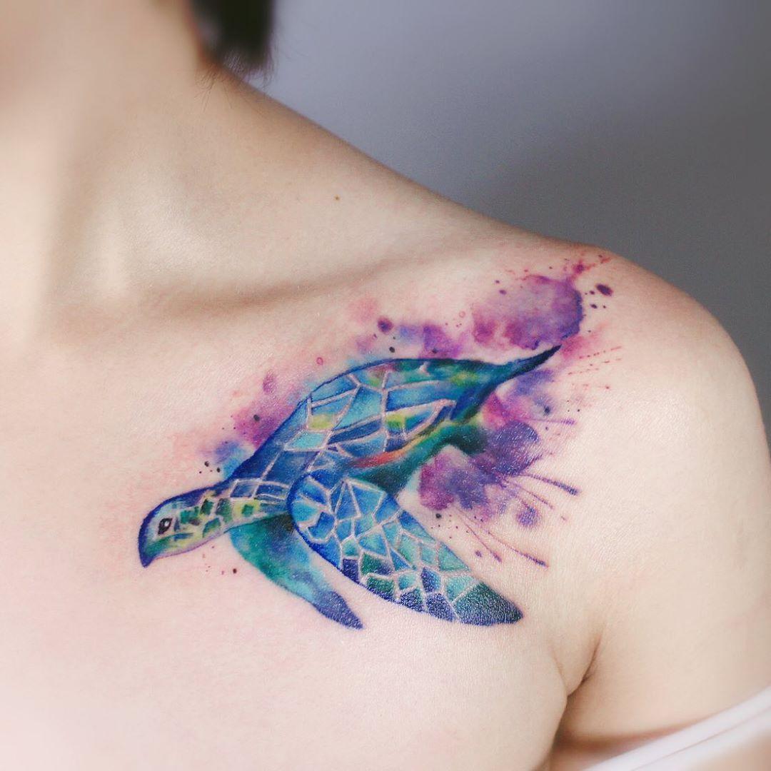 Watercolor Sea Turtle Tattoo design
