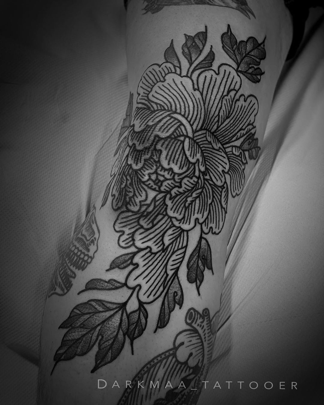 Image of mythological Peony Tattoo design