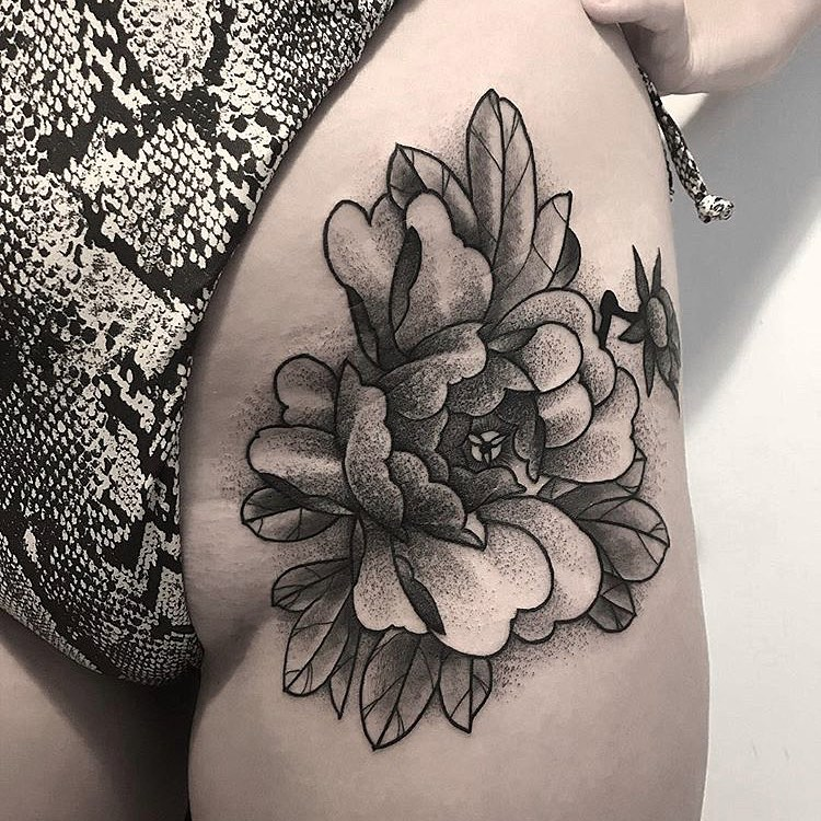 Image of Peony Tattoo design on upper leg
