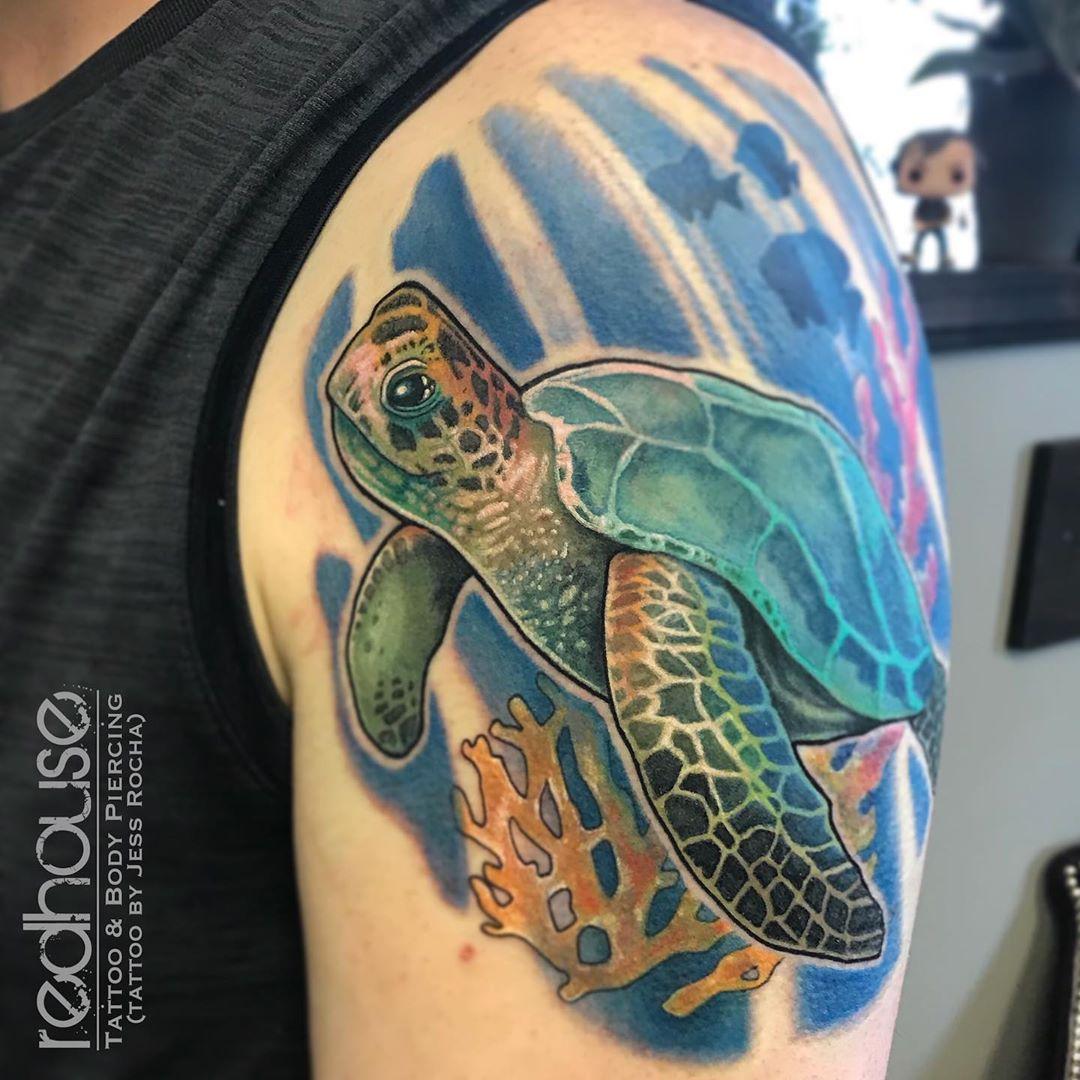 Shoulder colorful Sea Turtle Tattoo