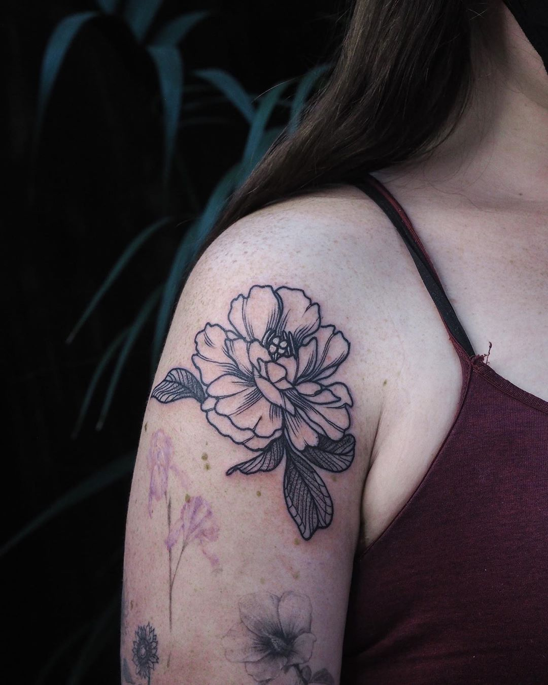 Garden Peony Tattoo design
