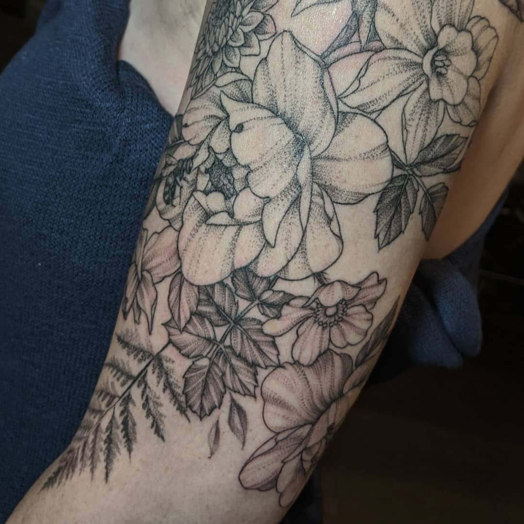 Asian inspired Image of Peony Tattoo design