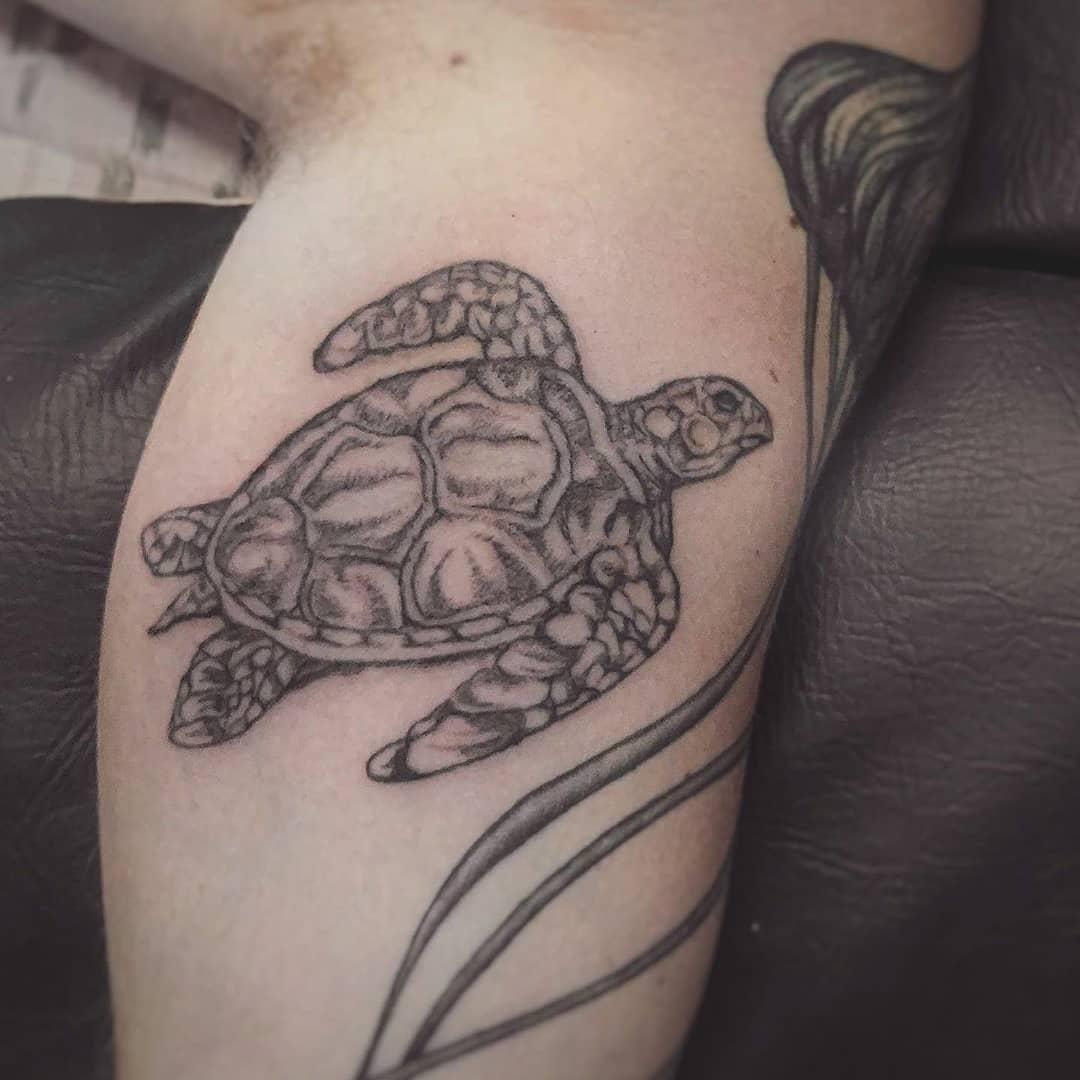Swimming Sea Turtle Tattoo design