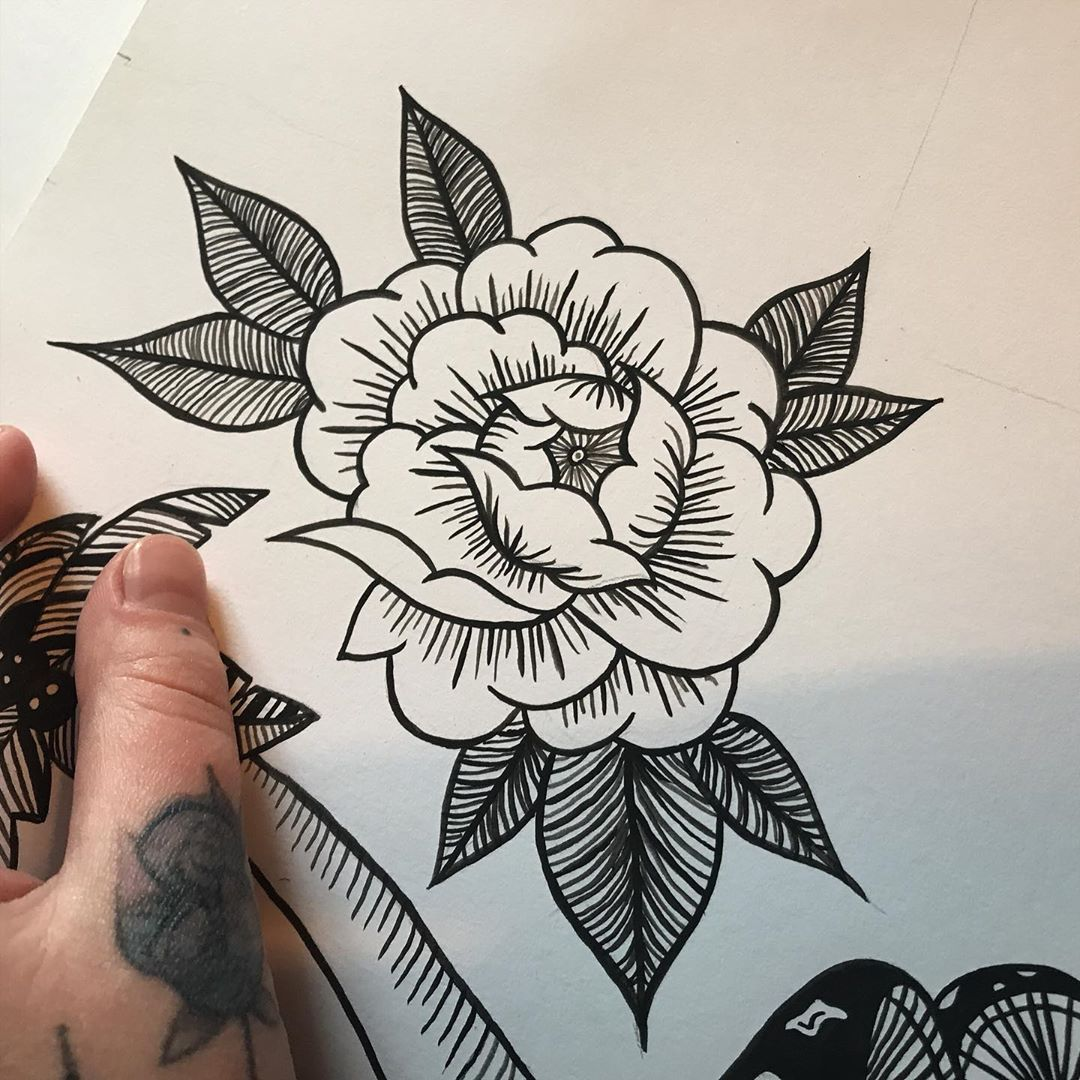Image of black and white Peony Tattoo design