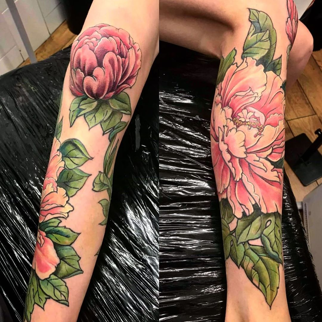 Rosy Image of Peony Tattoo design