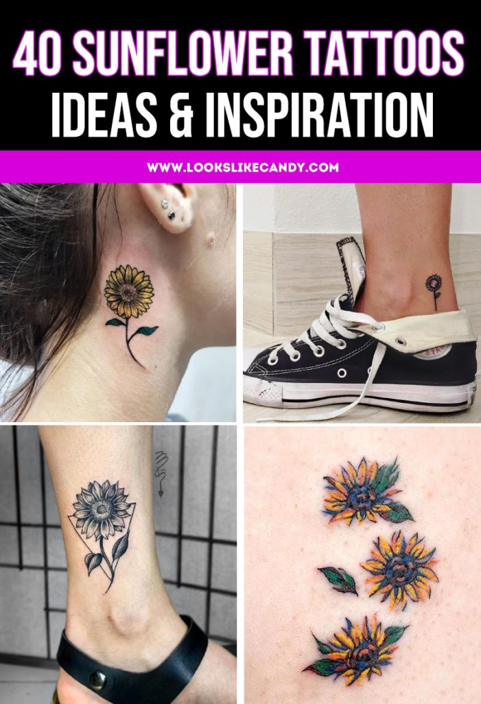 Collage image of four sunflower tattoo ideas