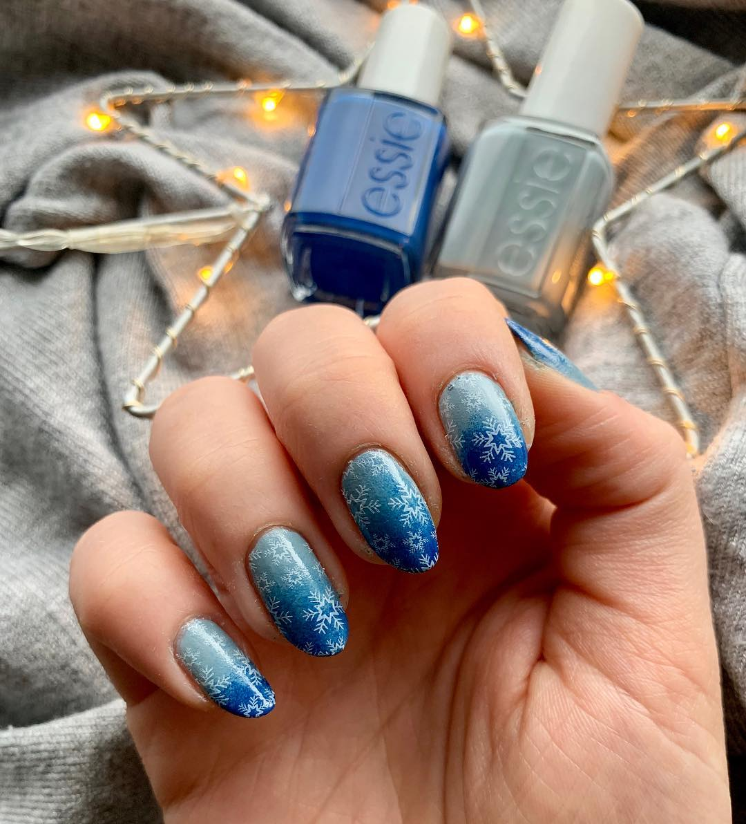 Image of ombre blue snowflake nail designs
