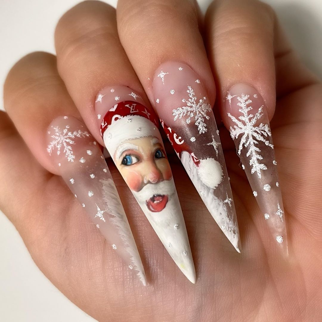 long and pointy Christmas Nails