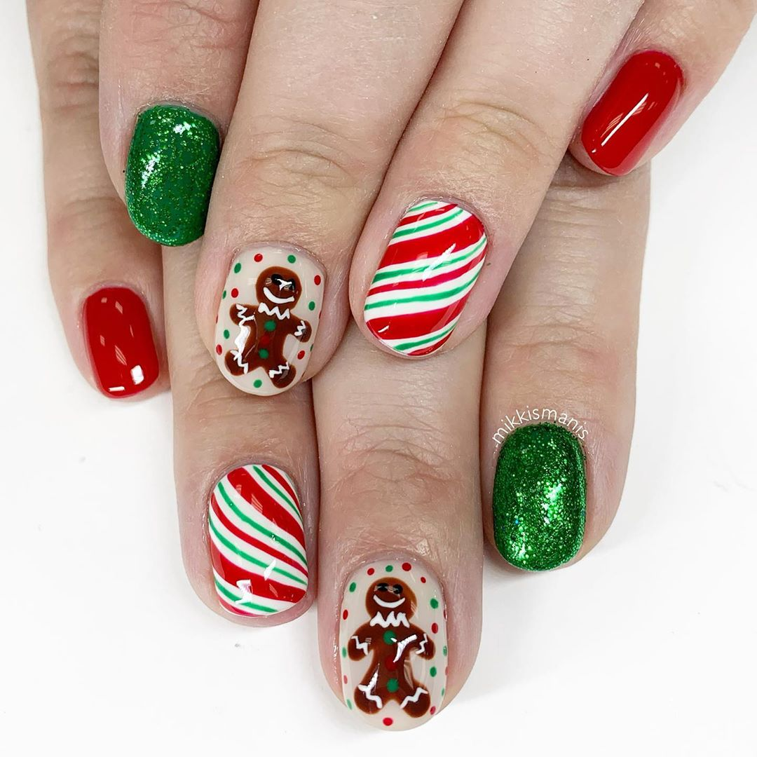 Image of Gingerbread Christmas nails