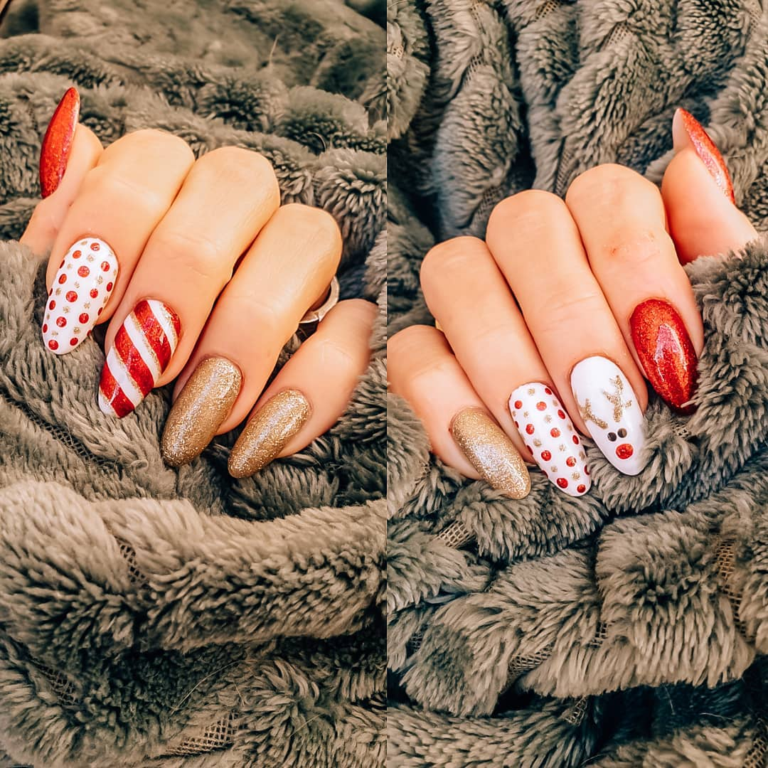 Gold & red Christmas nails with peppermint twist