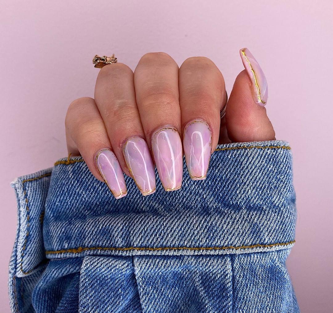 Image of pastel Christmas nail designs
