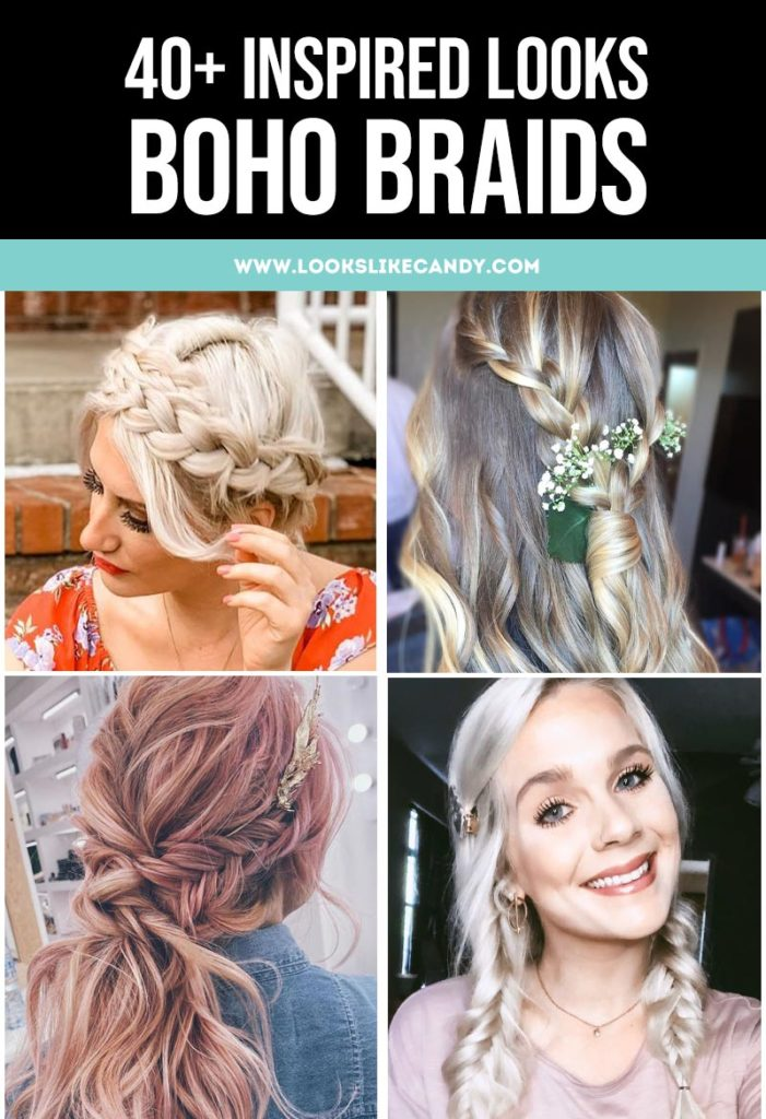 Boho braids hairstyles, inspirations, and looks. Capture feeling of bohemian style in loose braids. Weave in ribbon, lace, headscarves to complete the look.