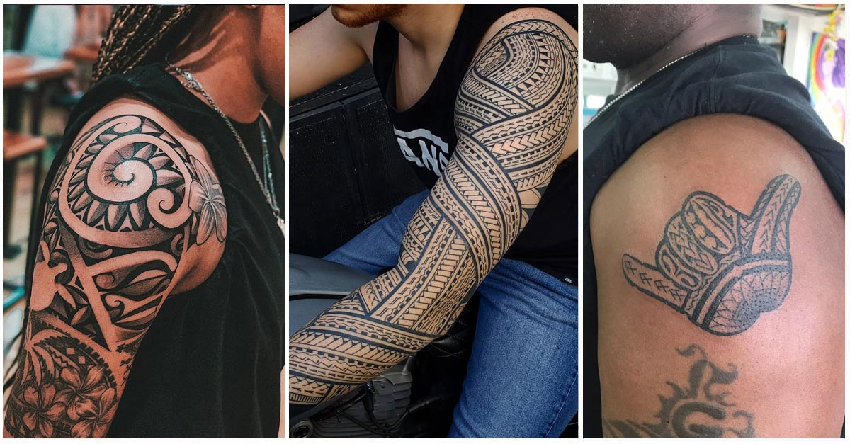 3 Hawaiian Tattoos in collage