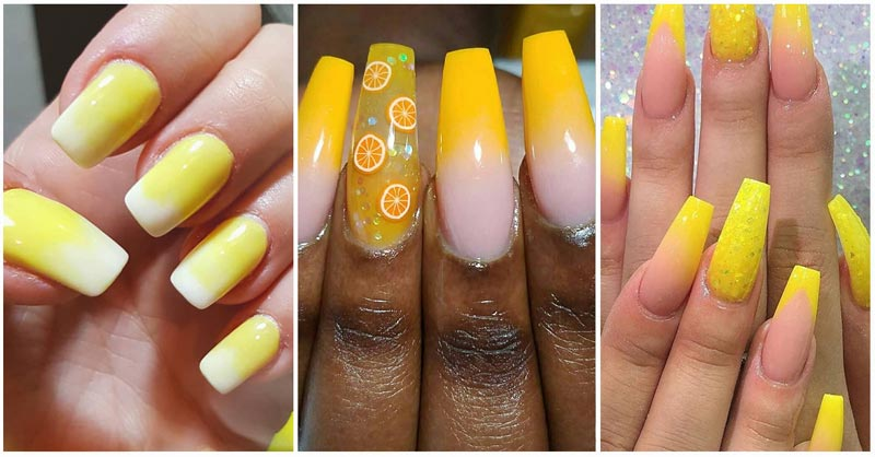 Collage of yellow acrylic nail designs