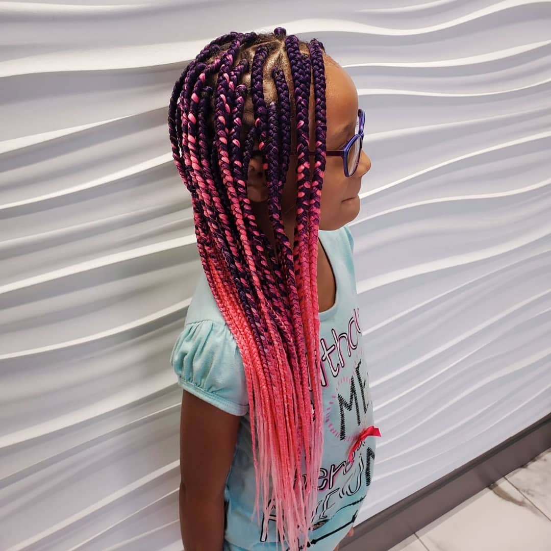 Purple and pink Image of Senegalese Twists