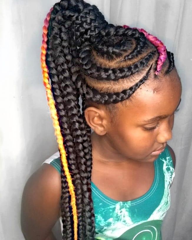 Woman with ghana braids hairstyle