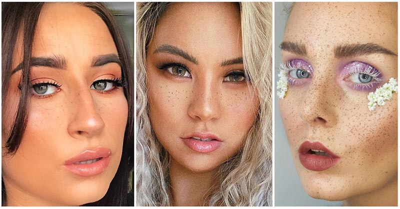 Faux Freckles Collage of 3 models