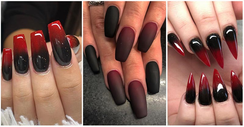 Updated 35 Stunning Red And Black Ombre Nails August 2020