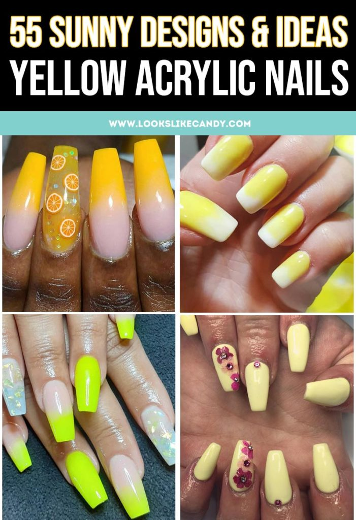Pinterest-ready image of collage of yellow acrylic nail designs