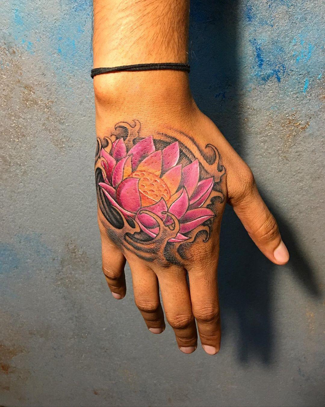 Beautiful lotus flower tattoo design