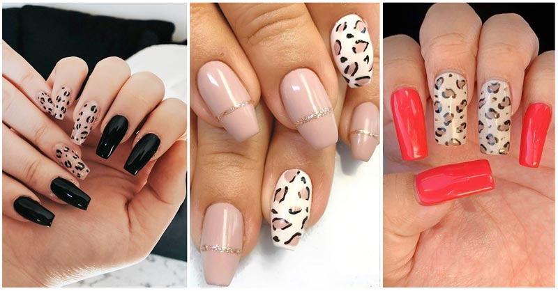 Collage of Cheetah Nails Designs
