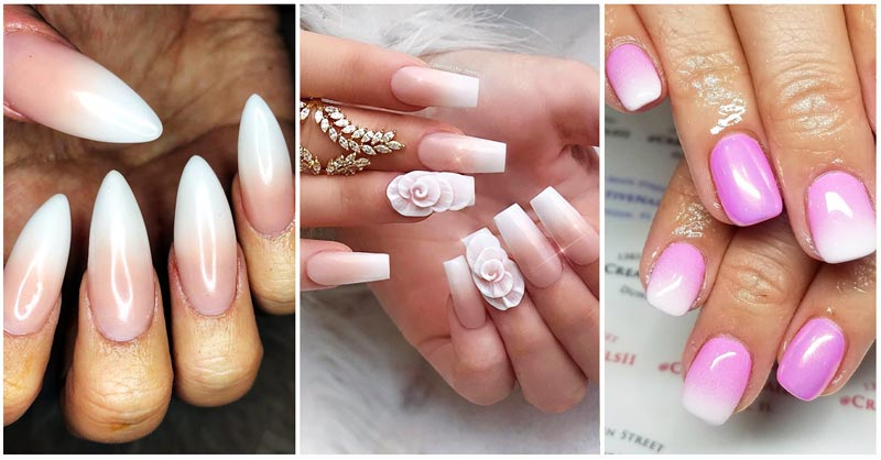 Collage of French Ombre Nails images and inspiration