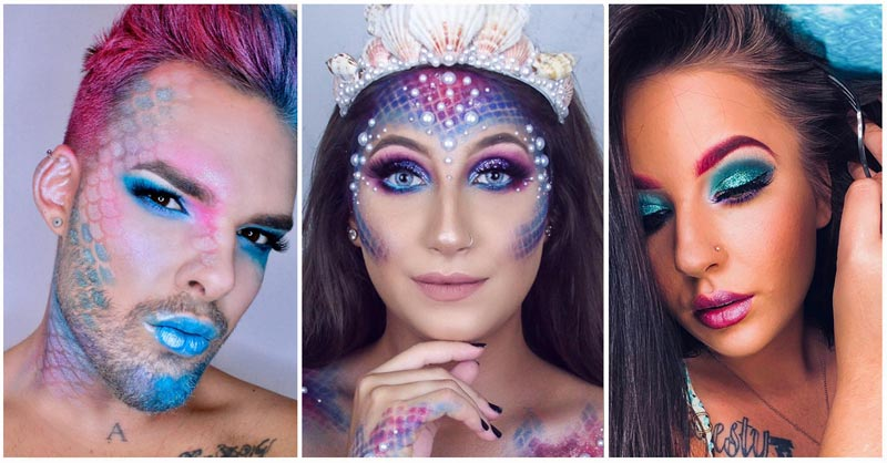 Mermaid make-up collage