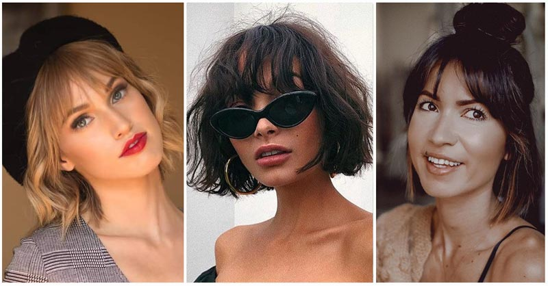Image of three women short hair with bangs styles