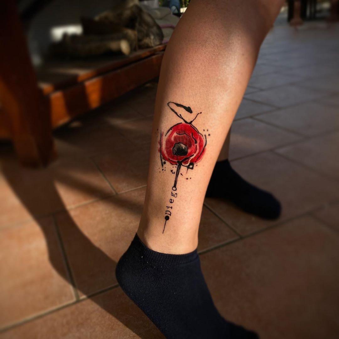 Impressive image of poppy tattoo