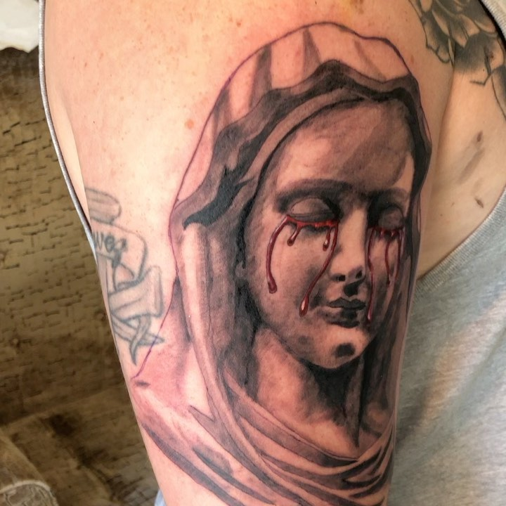 Incredible image of Virgin Mary Tattoo