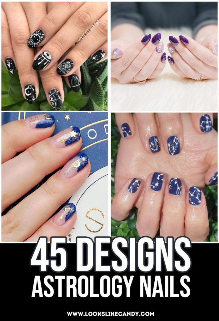 Astrology Nails collage for Pinterest