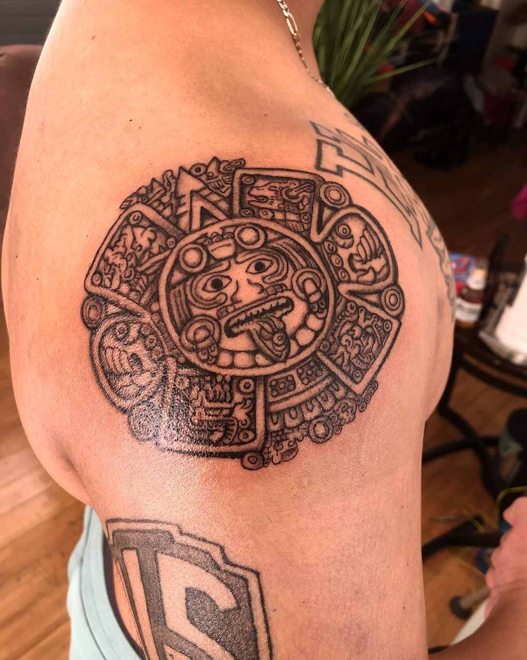 Image of magestic Mayan tattoo