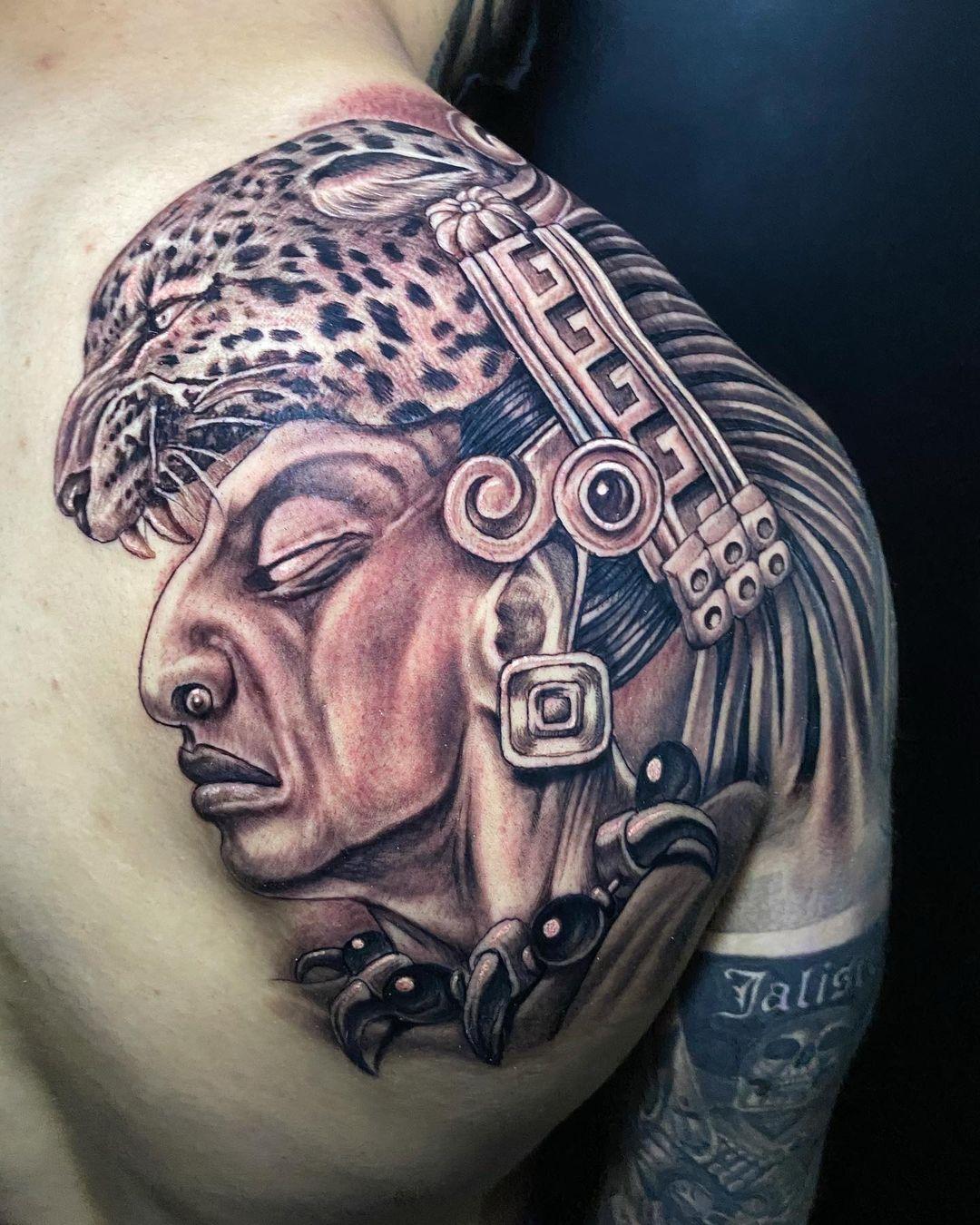 Image of magestic Mayan tattoo