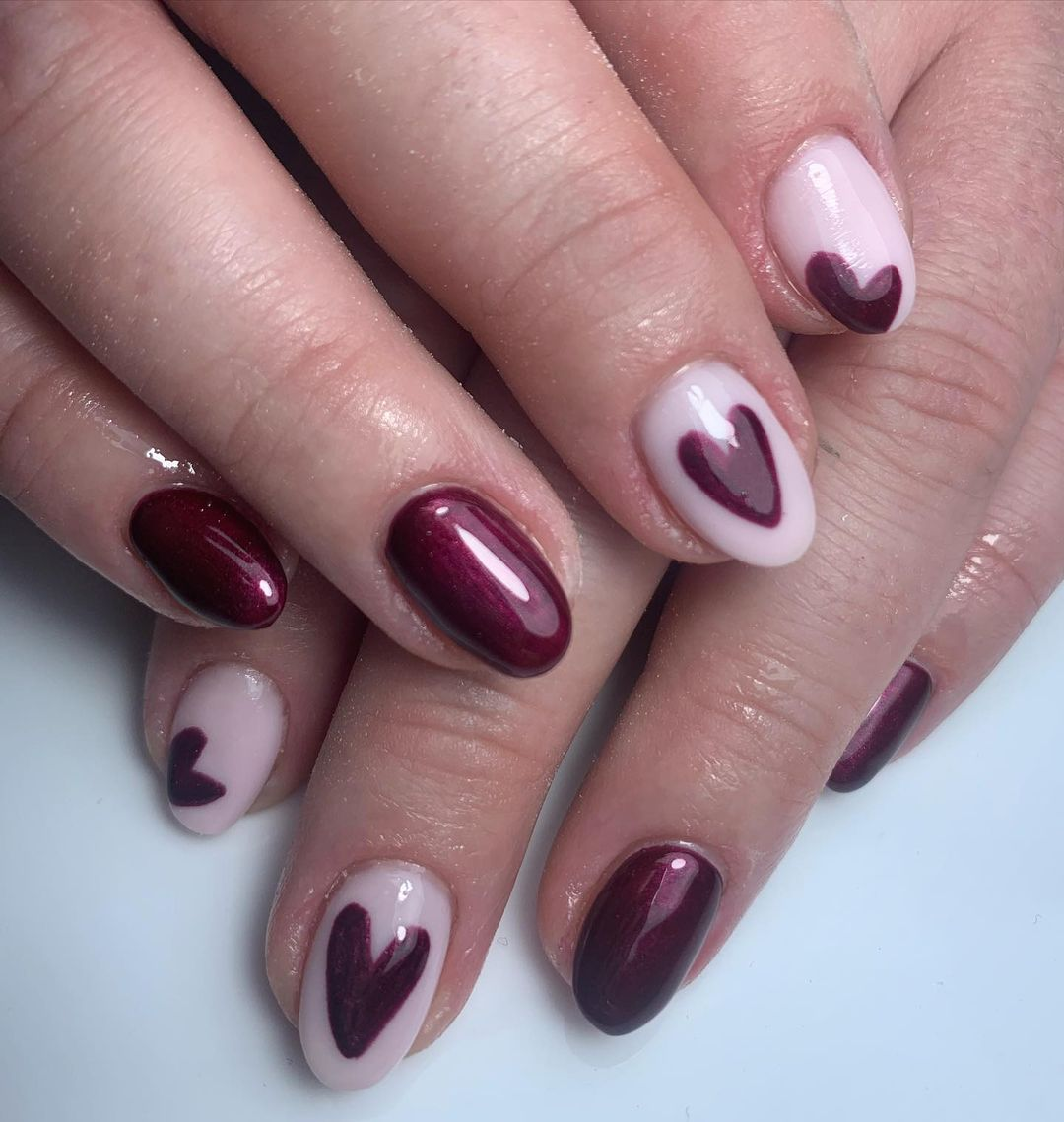 Pretty image of heart nail design